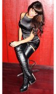 6 inch Custom size Leather Lace-up Thigh Boots