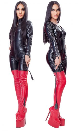 8 inch Custom Red Leather Thigh Boots