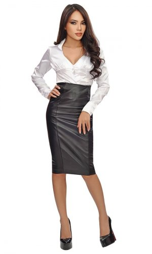 Panel Lamb Leather Skirt
