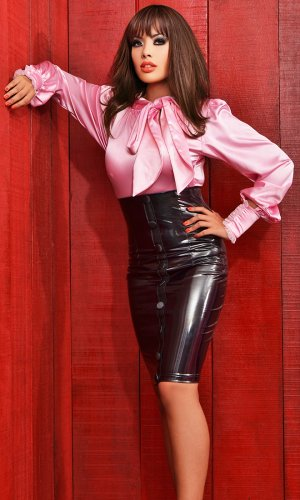 PVC Front Buttons Skirt