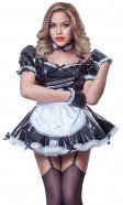 PVC Square-Pleated Maids Pinafore