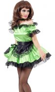 Emerald Green Satin French Maid