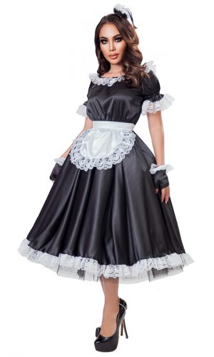 Classic Long Satin French Maid