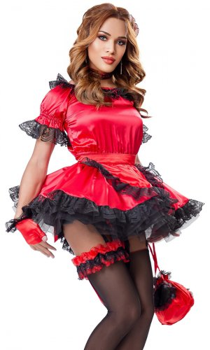 Red Satin French Maid