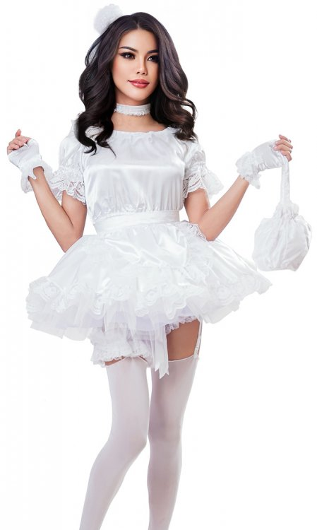 White Satin French Maid