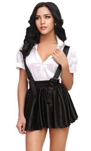Satin high-waist Strap Skirt