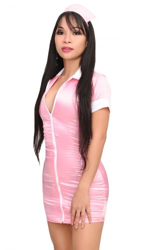 Satin Nurse Mini Dress