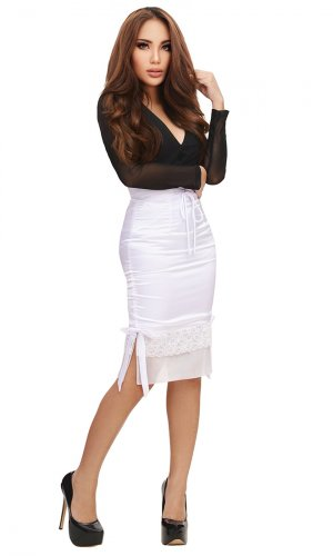 Satin Long Skirt with Lace