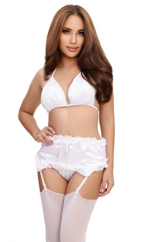 Bridal White Satin Suspender Belt