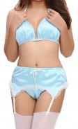 Tabitha Blue Satin Suspender Belt