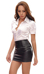 Faux Leather Pleated Mini Skirt