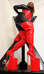 Extreme 12 inch Red PVC Thigh Boots