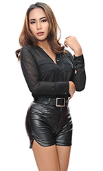 Aysha Shiny Leatherlook Hotpants