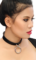1.5cm Leather Ring Collar
