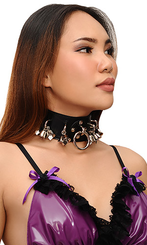 2 inch Leather Bells Collar