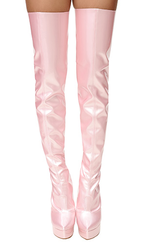 6 inch PVC Sissy Thigh Boots