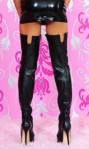 6 inch Custom size Leather Thigh Boots