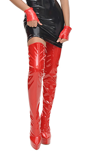 6 inch Custom size Red PVC Thigh Boots