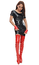 "6"" Custom size Red PVC Thigh Boots"