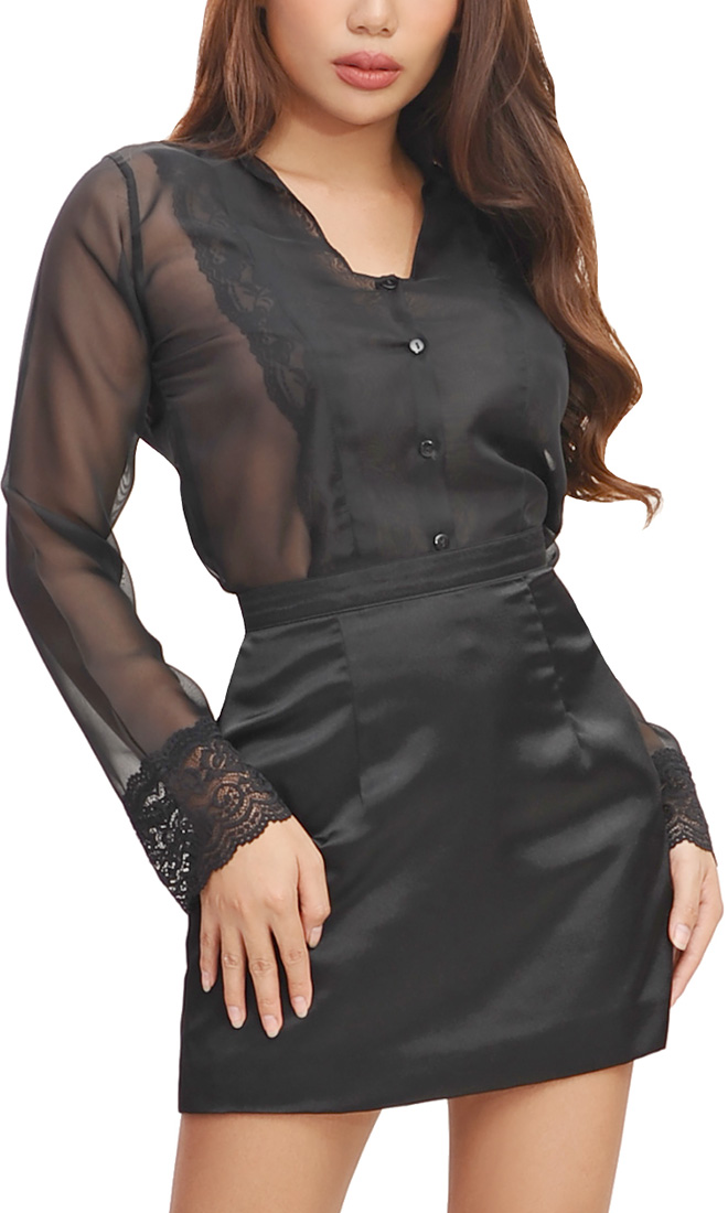 See-through Chiffon blouse with Lace