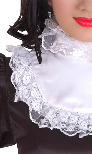 Lockable Satin Ruffle Collar Ruffled Satin Housemaid