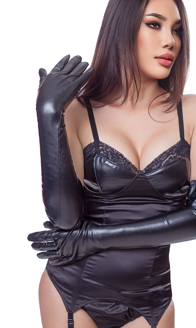 Long Leatherette Opera Gloves