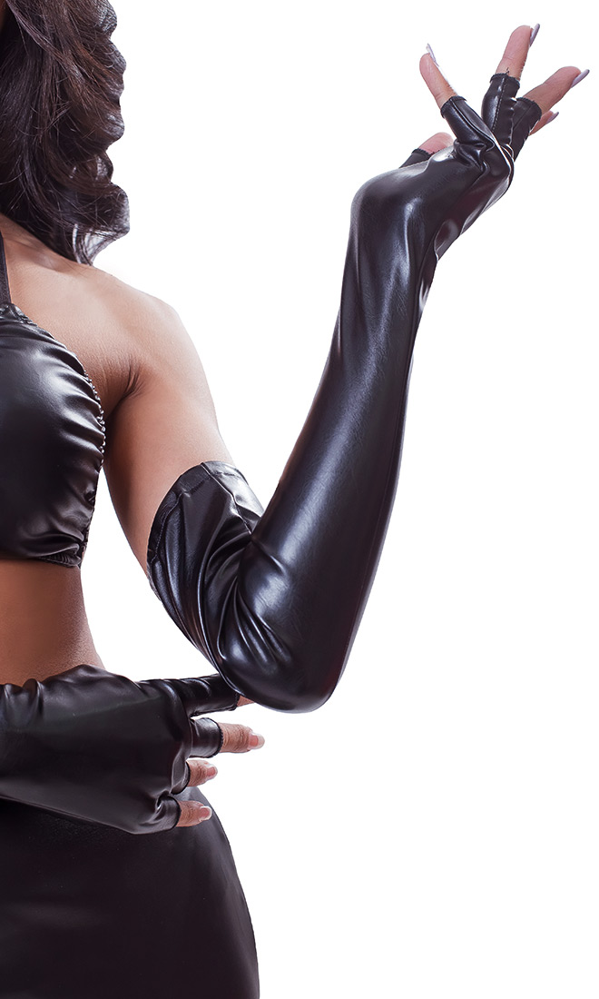 Fingerless Leatherette Opera Gloves