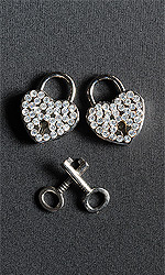 2 x Rhinestone Heart Locks (with keys)