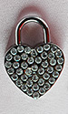 Large Rhinestone Heart Lock (with key)