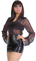 Tatyana Leatherette Mini skirt with thick rear zip