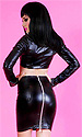 Tarra Leatherette Tease skirt with thick rear zip