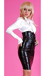 Alisa High-waist Leatherette Corset Skirt