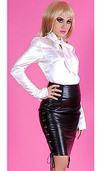 Nina Leatherette Strict Skirt