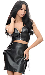 Caprice Leatherette tie-side Mini skirt