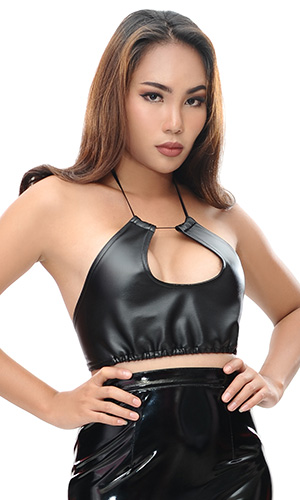Uria Leather Bra Top