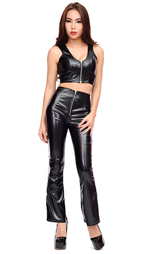 Ginette Leather Trousers (zip)