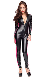 Stripes Leatherette Catsuit