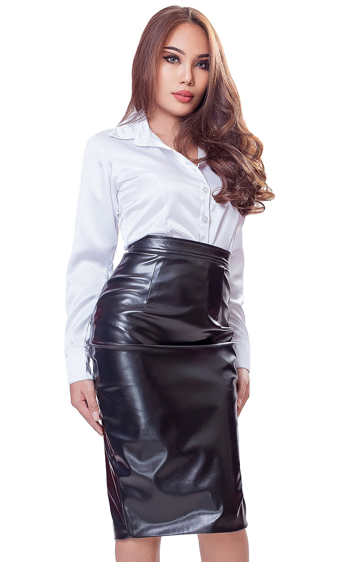 Leatherette Leather Long Skirt