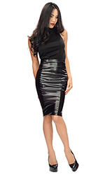 Leatherette Panel Long Skirt