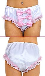 Babette Lace-trim Satin Panties with Bows