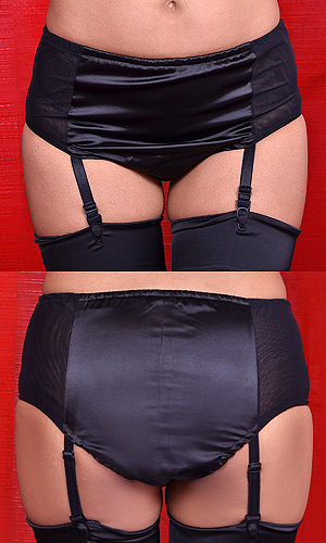 Eliza Satin and Net Suspender-Panty