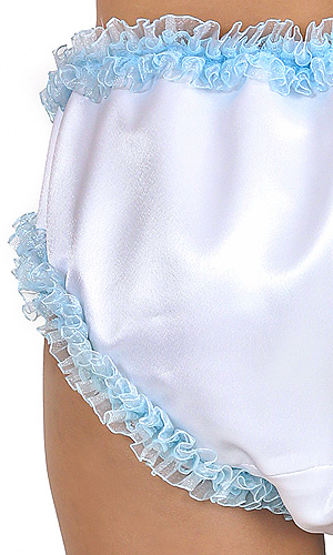 Fawn Satin Panties with Blue Lace