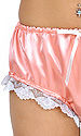 Peach Satin Panties with White Lace