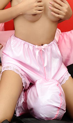 Plastic and Satin Worship Bloomers with hood
