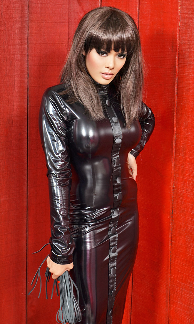 Buttons Pvc Hobble Dress Pvc001 163 81 93 The Fantasy