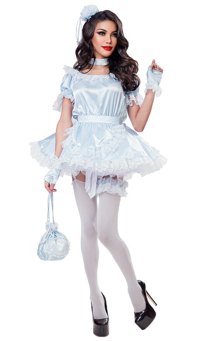 Baby Blue Satin French Maid