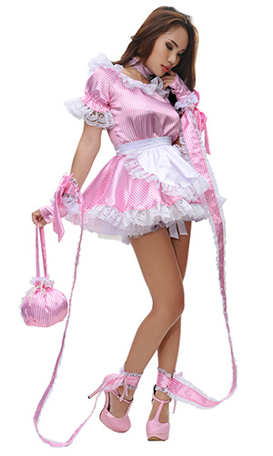 Stripes Satin French Maid Uniform