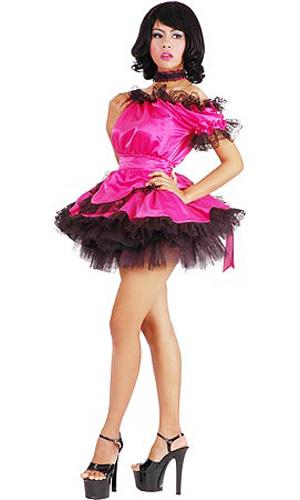 Shocking Pink Satin French Maid