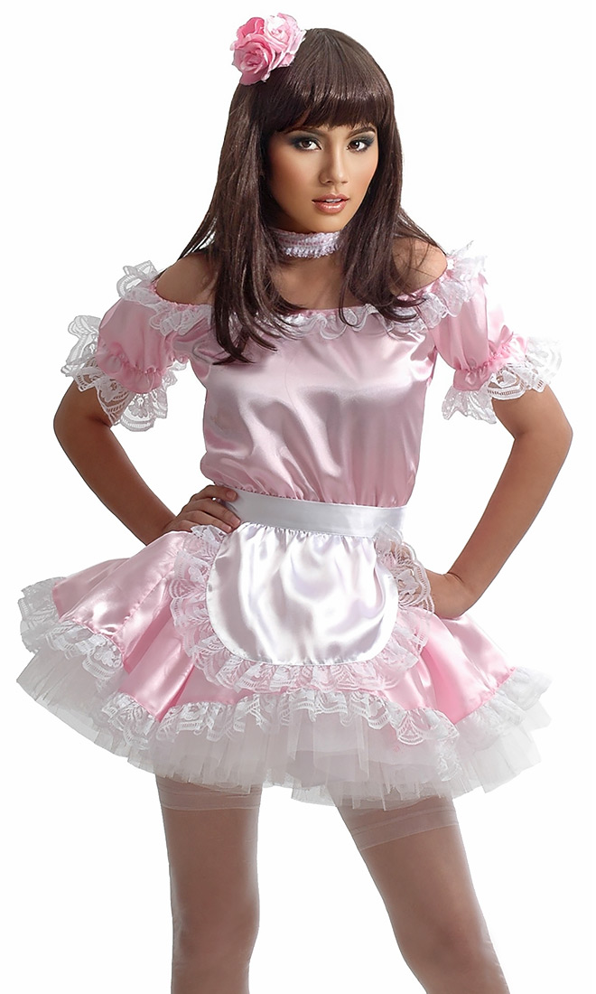 Pink Satin French Maid