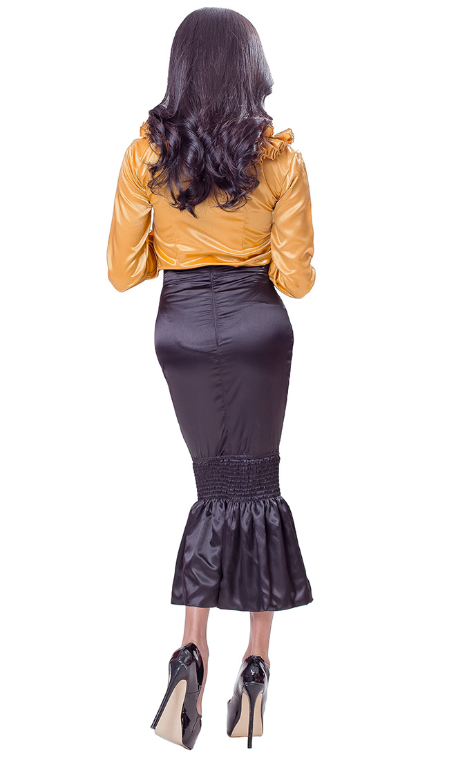 Long Satin Fishtail Skirt